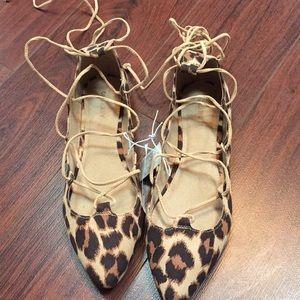 NWT leopard Lace up flats